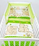 BABYLUX Bettwäsche Bezug 2 Tlg. 100 x 135 cm Kinderbettwäsche Bettwäsche Bettset Babybettwäsche TEDDYBÄREN (62. Teddybären Grün)