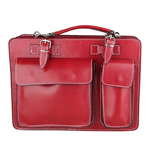 Chicca Borse Unisex Aktentasche Organizer Handtasche Mittlere Maß mit Schultergurt aus echtem Leder Made in Italy 34x24x12 Cm Rot
