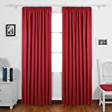 Deconovo Super Soft Ready Made Curtains Thermal Insulated Pencil Pleat blackout Curtains for Livingroom with Two Matching Tie Backs 46 x 54 Red One Pair
