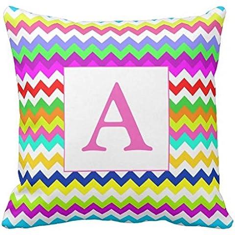 Anything But Gray Chevron Custom Initial Monogram Throw pillowcase 24*24