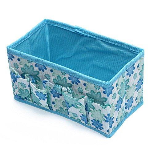 TOOGOO(R) Boite Organisateur floral Bleu Porte Astuces de Cosmetique Pliable