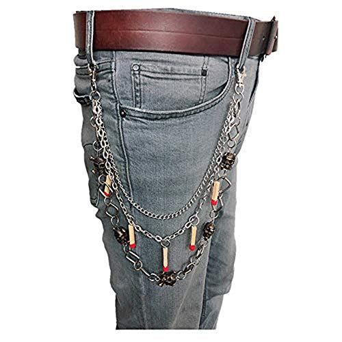 Black Sugar - Cadena para pantalón de araña, cartera, biker, doble cadena pirata Jeans Punk, motorcita, rock, eslabones góticos, punk, Emo, calavera