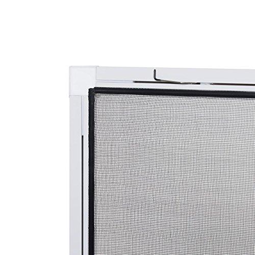 Insektenschutz fürs Fenster: Stabiles Fliegengitter zur einfachen Selbstmontage, Alurahmen in Weiß mit den Maßen 120 x 140, hochwertiges Gewebe in Schwarz für bessere Durchsicht