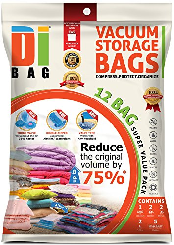 DIBAG--12-Space-Saver-Vacuum-Storage-Bags-Premium-Travel-Space-Bags-1-Jumbo-2-XXL-2-XL-2-L-5-Roll-Up-Bags-Double-Sealed-Compression-Plastic-Bags-For-Clothing-Storage-Bedding-Packing