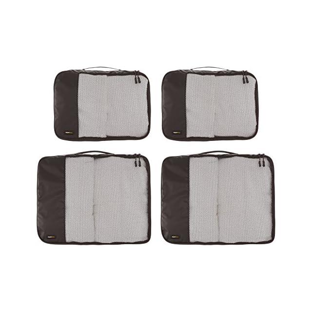 AmazonBasics Lot de 4sacoches de rangement pour bagage 2xTailleM/2xTailleL, Noir