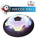 VNC Floating Soccer Ball for Toddlers & Kids with Flashing Colored LED Lights for Smooth Surfaces New Football Toy for Indoor, Battery Operated Air Hovering Disk for Girls & Boys