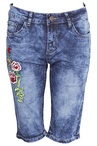 Noroze Damen Denim Shorts Bluem Capri Jeans Hose (XXXL (46, UK 18), Blau E425) -
