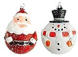 Christbaumkugel Christbaumschmuck glitter 2er SET Glitter Weihnachtsmann und Schneemann Ø 8 cm• Weihnachten Weihnachtsdekoration Weihnachtsschmuck Geschenkidee