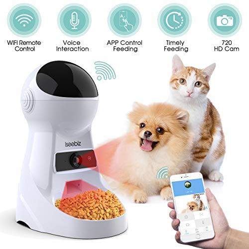 Iseebiz WiFi Automatischer Futterspender mit Kamera, ca. 3L Futterautomat für Hund und Katze, Automatic Pet Feeder mit Ton-Aufnahmefunktion Speicherfunktion, bis zu 6 Mahlzeiten am Tag