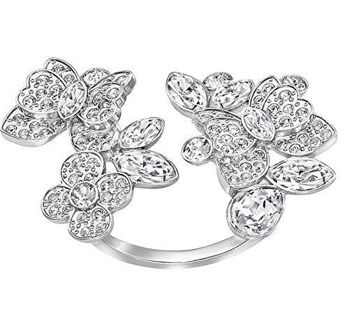 Donne-anello Swarovski Eden aperto rodinato cristallo bianco taglia 55 (17,5) - 5182029