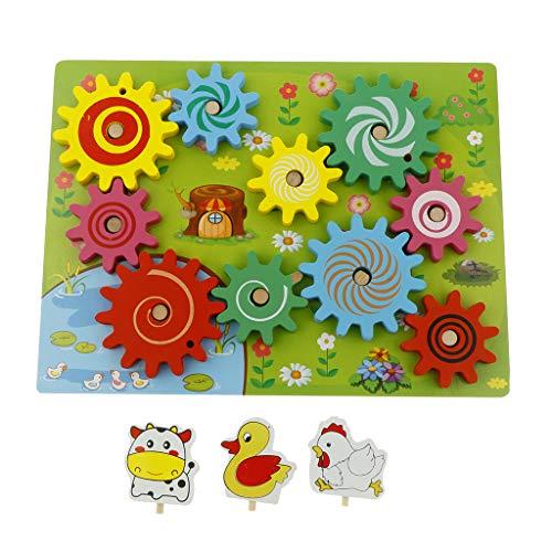 Fenteer Montessori Zahnrad Puzzle zum Drehen aus Holz - Zahnrad-puzzle