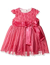 Si Rosa by Hopscotch Girls Bow Style Dress in Fuchsia Colour