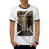 Éléphant Visage Sauvage Animal gris Ivoire Men L T-shirt à sonnerie | Wellcoda
