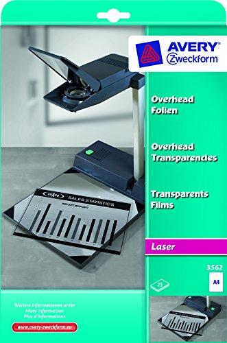 Avery Zweckform 3562 Overhead-Folien (A4, spezialbeschichtet, stapelverarbeitbar, Stärke: 0,10 mm) 25 Blatt