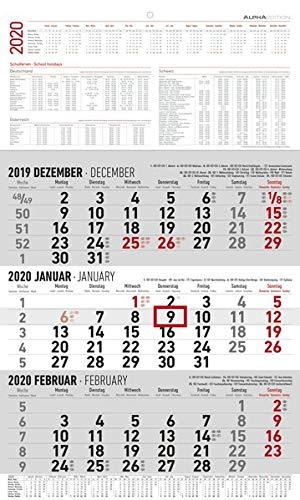 3-Monatskalender groß 2020 - Wandplaner - Bürokalender (30 x 49 geöffnet) - mit Datumsschieber - inkl. Jahresübersicht
