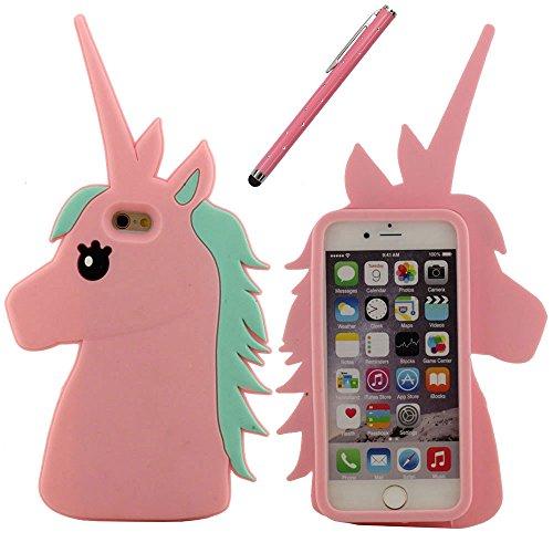Schutzhülle für iPhone 6S Hülle, Hübsch Pferd Gestalten Cartoon Style Weich Silikon Case Hülle für Apple iPhone 6 / 6S 4.7 inch mit 1 Stylus-Stift pink