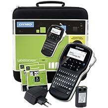 DYMO LabelManager 280 + Case - Impresora de etiquetas (Transferencia térmica, LCD, D1, Negro, Plata, QWERTZ, Ión de litio)