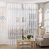 Sundlight Visillos Cortina Transparente Bordados para Ventanas Habitaciones Dormitorios Licencia y árbol 100 * 250cm-blanco