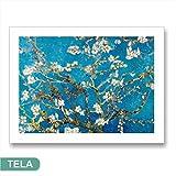 Karo L & C Italien van Gogh Mandelbaum in Blüte Kunstdruck auf Leinwand 80x 60cm Hohe Auflösung Möbel Wohnzimmer Schlafzimmer Canvas Kunst Blumen Weiß Blau