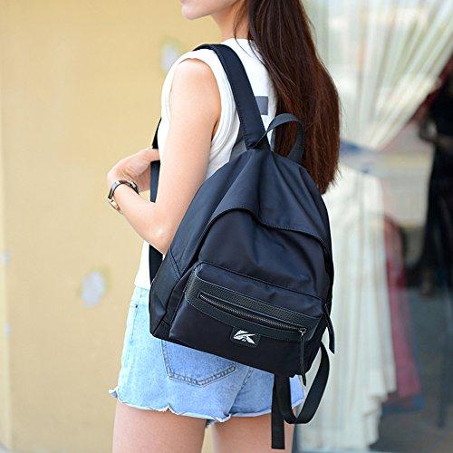 BYD - Donna Unisex Nylon impermeabile tela di canapa Borsa zaino School bag Backpack con Funzione multi tasche Nero