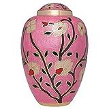 Liliane Memorials Fleur_Pink_L Beerdigungsurne aus Messing mit emaillierten Blumen, groß, ca. 200 kg, Rosa