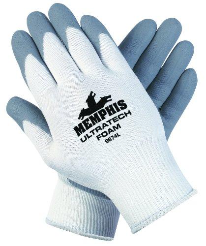 White Knit Glove (Ultra Tech Foam Seamless Nylon Knit Gloves, Large, White/Gray)