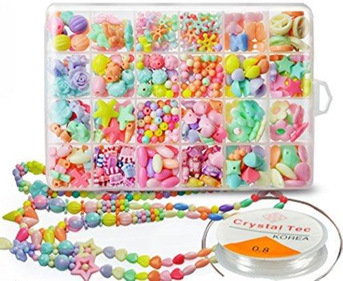 Kids' Mixed Difform Bead Set Toy Acrylic Colorful DIY Bead Art Kit Jewellery Making Kit form Millya by Millya (Bead Kit Making)