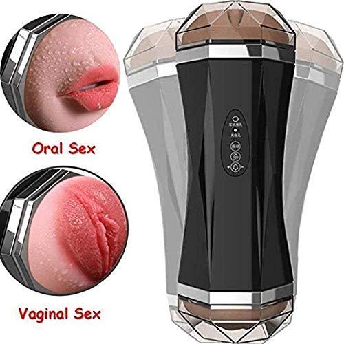 Preisvergleich Produktbild Male Masturbator Pocket Pussy Sex Toy Masturbation Smart Vibrating Sucking Cup Vagina and MouthTeeth Tongue 3D Realistic Stroker Girls Voice Moans Piston Novelty Stroker Dual Hole Rechargeable for Men