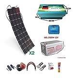 Kit 12V Panel Solar Flexible 150W Inversor 2000w con Cargador 35A kit para autocaravana caravanas y barcos (Dos Panel con GEL 250A)