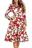 Trudge Damen Weihnachtsbäume Weihnachtsmann Retro Vintage Skaterkleid Basic Kleid Swing Festlich Kleid Schleife A Linie Blumen Kleid 3/4 Arm Herbst Winter (EU 40(Herstellergröße: L), Weiß + Blume)