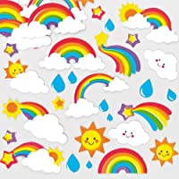 Baker Ross AF399 Rainbow (Pack of 120) Puffy Scrapbook Stickers in Fun Foam Shapes, Assorted