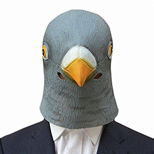 KHFFJ Halloween Taube Maske Latex Riesen Vogel Kopf Cosplay Kostüm Theater Prop Halloween Party Dekorationen Vogel Maske, Grau