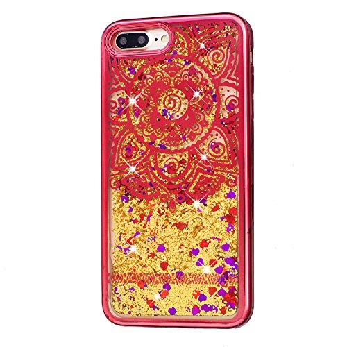 für iPhone 7 Plus Hülle, TPU Handyhülle für iPhone 7 Plus, Vandot Flüssiges Liquid Glitzer Diamant Schutzhülle für iPhone 7 Plus Handyhülle Glitter Bling Shining Luxus Transparent TPU Silikon Zurück C Muster 2