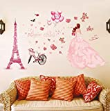 QTXINGMU Fahrrad Hochzeit Mädchen Wandaufkleber Blume Romantische Wand Aufkleber Home Decor Wohnzimmer Schlafzimmer Aufkleber PVC-Kunst Wandbild