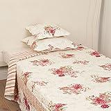 Clayre & Eef Q127.060 Bettüberwurf Rosen 180 x 260cm Tagesdecke romantisch Decke Rose creme rosa weiß hellgrün Vintage Shabby Chic