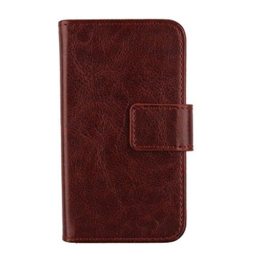 Gukas PU Leder Tasche Hülle Für Archos Sense 47X 4.7 Handy Flip Design Brieftasche mit Karten Slots Schutz Protektiv Case Cover Etui Skin (Farbe: Braun)