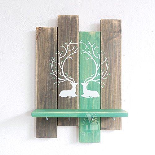 Preisvergleich Produktbild Wandrahmen, Massivholz Eingang Dekoration, Regal, retro Schalbrett, Haken, Wandregal, grau