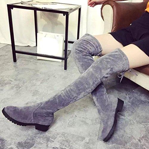 Vovotrade Donne di età media inferiore del tacco ginocchio gamba stivali lunghi Grigio