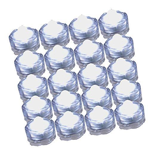 Favsonhome LED-Tauchlicht mit Blumenmuster, für Partys, Hochzeiten, Weiß, 20 Stück