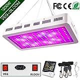 WAKYME 1200W LED Pflanzenlampe, Einstellbar Volles Spektrum Zwei Schalter Pflanzenleuchte mit Thermometer Feuchtigkeitsmesser...