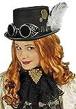 Steampunk Zylinder mit silbernen Zahnrädern, Ketten und Nieten - Schwarz- Toller Hut zur Ihrem Kostüm zur Zeit der industriellen Revolution zu Fasching, Mottoparty und Karneval