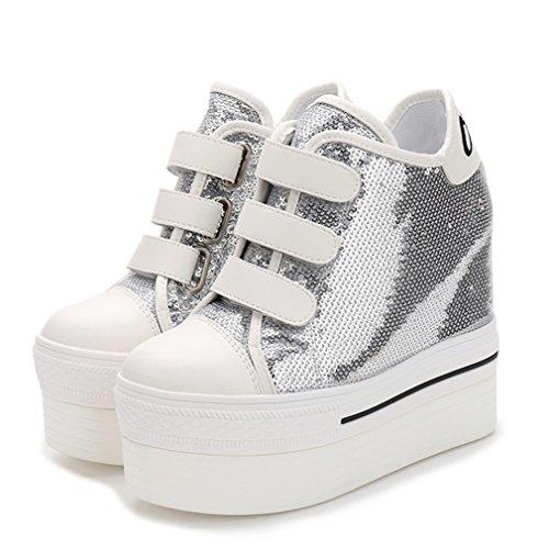 Damen Plateauschuhe Pailletten Klettverschluss Rundzehen Keilabsatz Tragen Freizeit Klassische Schuhe Silber