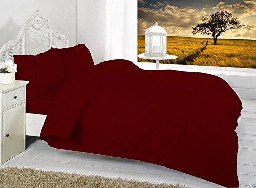 Unifarben Bettwäscheset, Bettbezug Bettwäsche-Sets mit Kissenbezüge Single, Double, King, Super King erhältlich, wein, Duvet Cover Set Double Only (Aqua King-size-bettwäsche)