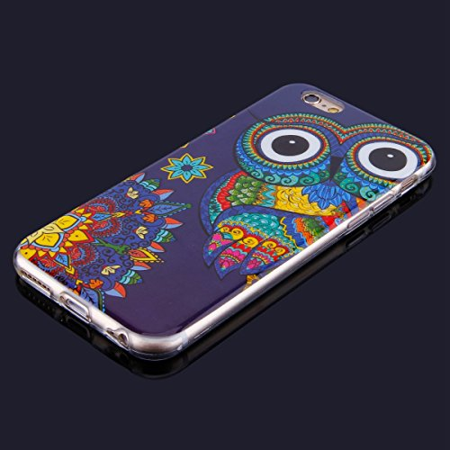 Cover iPhone 6/iPhone 6s (4.7), Custodia iPhone 6/iPhone 6s (4.7), EUWLY Trasparente TPU Case con Colorate Dipinto Modello Morbida Flessible in Silicone Custodia Cover [Shock-Absorption] [Antigraffi Gufo