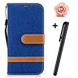 LG K10 2017 Leather Case,TOYYM Slim Vintage Jean Design PU Leather Wallet Case Cover Card&Cash Slots Stand Feature Magnetic Closure,Flip Notebook Style Cover Case for LG K10 2017Blue#2