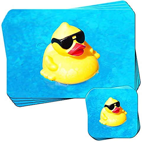 Cool Rubber Duck Wearing Shades Set of 4 Placemats and Coasters