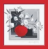 Fertig-Bild - Claudia Ancilotti: Black Velvet 30 x 30 cm modernes Stillleben mit Vasen Zweigen Blüten und gemaltem Rahmen in rot grau