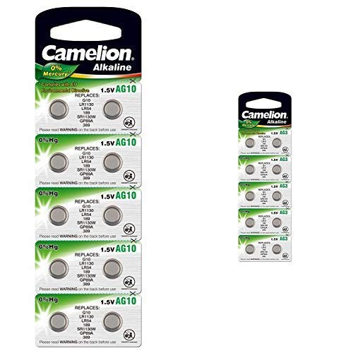 Camelion 12051010 Alkaline Knopfzellen ohne Quecksilber AG10/LR54/LR1131/389/1,5 Volt, 10er-Pack + Alkaline Knopfzelle 1.5V (AG3, LR41, LR736, 392, 10er-Pack, Blister)