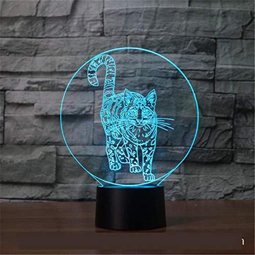 Llhyd Stehende Katze 3D Geschenke Spielzeug Dekor Led Nachtlicht 7 Farben Nachttischlampe Einstellbare Helligkeit Geburtstagsgeschenk Dekoration -