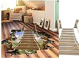 LuckyGirls 3D Brücke Boden Wandaufkleber Removable Decals PVC Abnehmbare 3D Aufkleber Room Decor Wanddeko